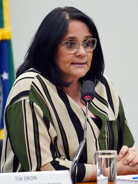 A ministra Damares Alves durante sessão na Comissão de Defesa dos Direitos da Mulher - Pablo Valadares/Câmara dos Deputados