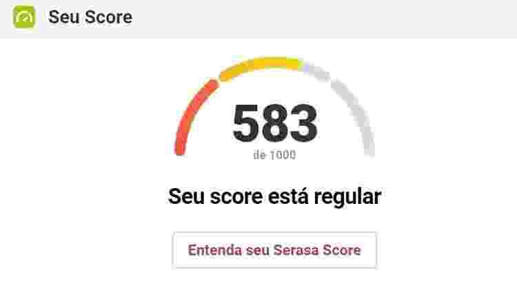 Score Serasa - Reprodução/Score Serasa - Reprodução/Score Serasa