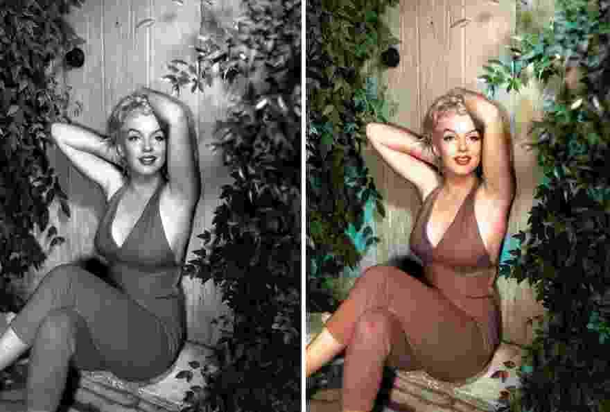 Foto de Marilyn Monroe antes e depois de passar por inteligência artificial Deep AI, que coloriza imagens em preto e branco - Reprodução/Bored Panda