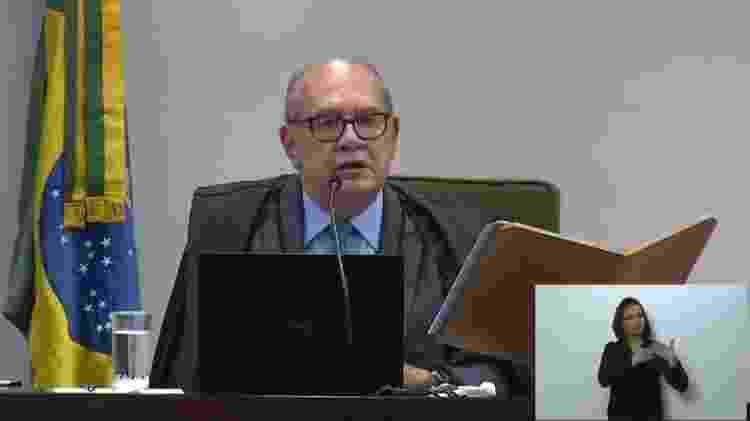 09.fev.2021 - Ministro Gilmar Mendes durante julgamento do STF sobre mensagens da Vaza Jato - Reprodução - Reprodução