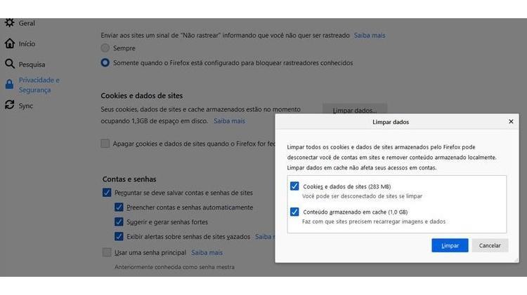 Firefox - apagar cache - Reprodução - Reprodução