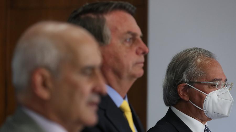 Bolsonaro e Paulo Guedes no Fórum de Investimentos Brasil 2021 - Marcos Corrêa/Presidência da República