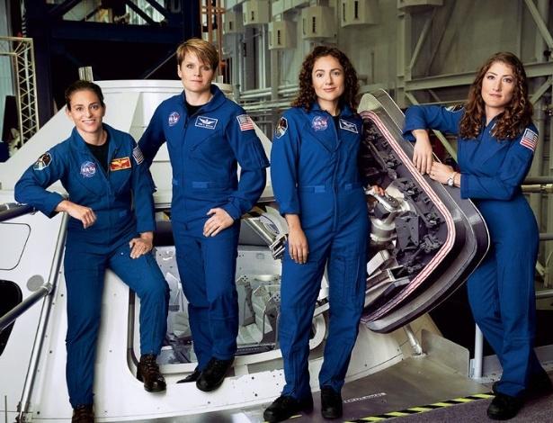 Nicole Aunapu Mann, Anne McClain, Jessica Meir, e Christina Hammock Koch, no Johnson Space Center, da Nasa, em Houston (EUA)