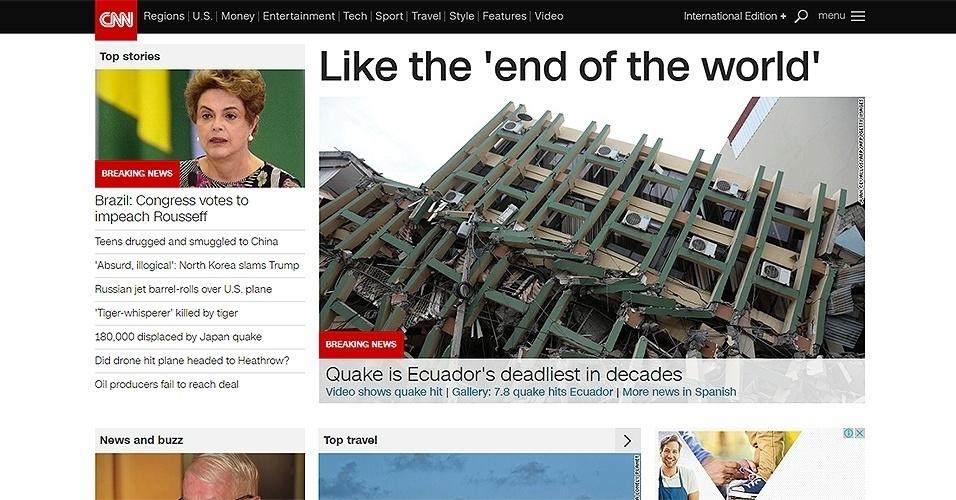 """17.abr.2016 - Emissora """"CNN"""", dos Estados Unidos, deu um destaque com a imagem da presidente Dilma para o resultado da votação na Câmara contra a presidente"""