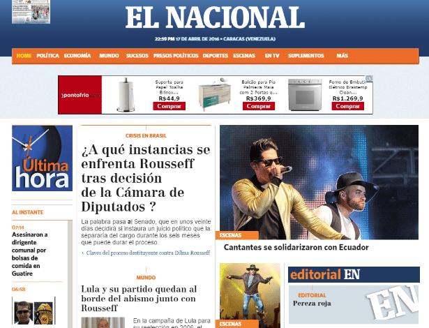 """O venezuelano """"El Nacional"""" destaca impeachment da presidente Dilma Rousseff (PT) em sua página principal"""