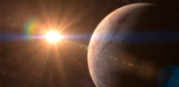 Imagem artística do exoplaneta GJ 536 b orbitando a estrela GJ 536 - IAC