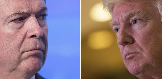 James Comey, ex-diretor do FBI, e Donald Trump, presidente dos EUA