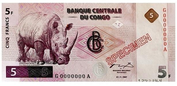 Congo (antigo Zaire): Na cédula de cinco francos do Congo, de 1997, quem aparece é um rinoceronte