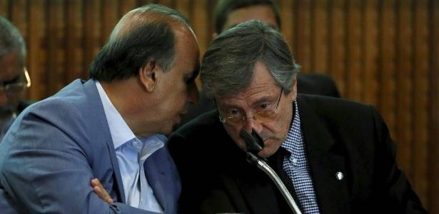 O governador Luiz Fernando Pezão (à esq.) e o ministro da Justiça, Torquato Jardim