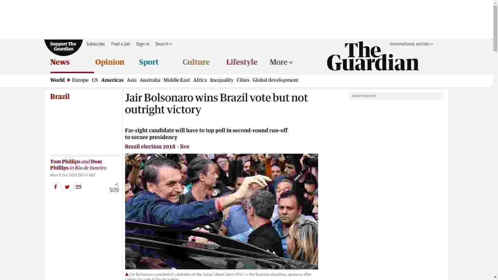 """The Guardian (Inglaterra): Jair Bolsonaro conseguiu uma """"vitória estrondosa"""" no primeiro turno, mas não garantiu a vitória - Reprodução"""