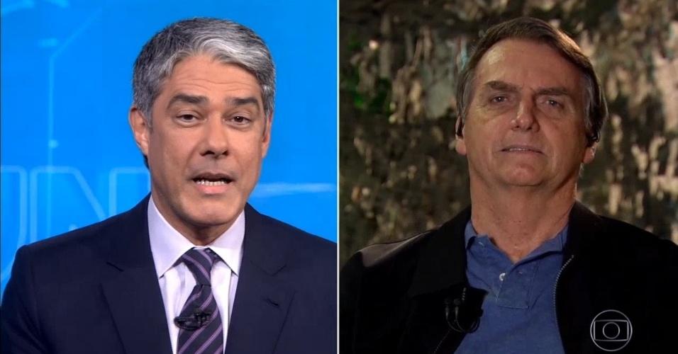 29.out.2018 - Presidente eleito Jair Bolsonaro (d) concede entrevista ao jornalista William Bonner durante o Jornal Nacional, da TV Globo