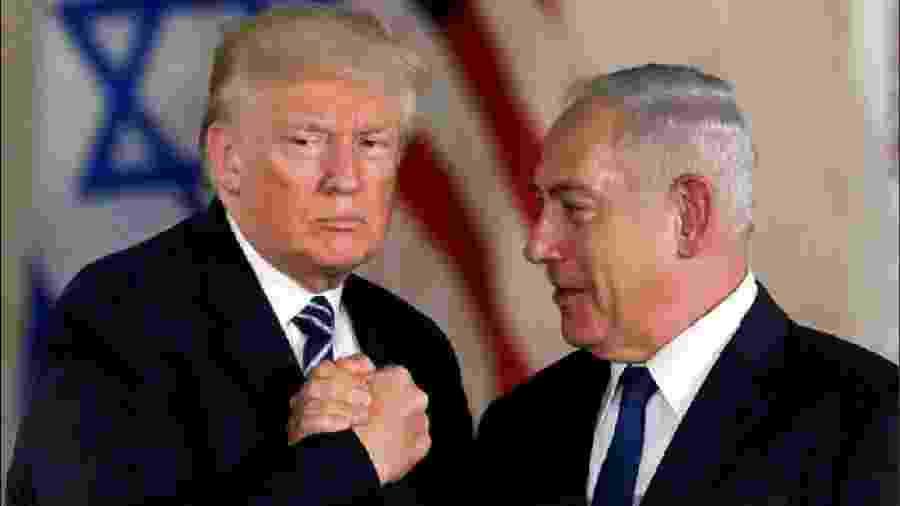 Trump e Netanyahu, primeiro-ministro israelense, durante anúncio do plano de paz para o Oriente Médio - Reuters