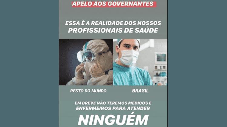 Imagem divulgada em redes sociais compara equipamentos de proteção para profissionais de saúde no exterior e no Brasil - Reprodução - Reprodução