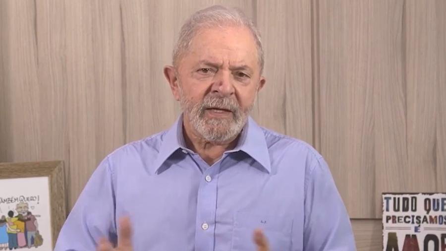 O ex-presidente Lula em vídeo gravado para o Dia do Trabalho de 2020 - Reprodução