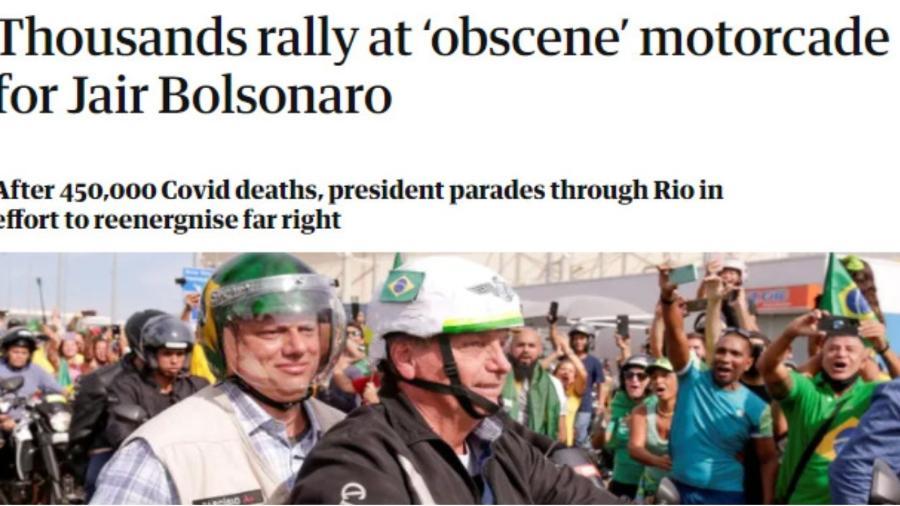 The Guardian critico ato liderado por Bolsonaro e que causou aglomeração no RJ - Reprodução: The Guardian