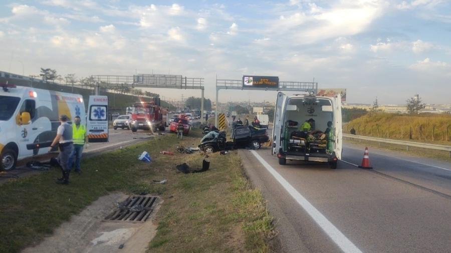 Duas pessoas da mesma família morreram em dois acidentes diferentes na rodovia Santos Dumont, ,em Indaiatuba, no interior de São Paulo - Divulgação/Polícia Rodoviária Militar de São Paulo