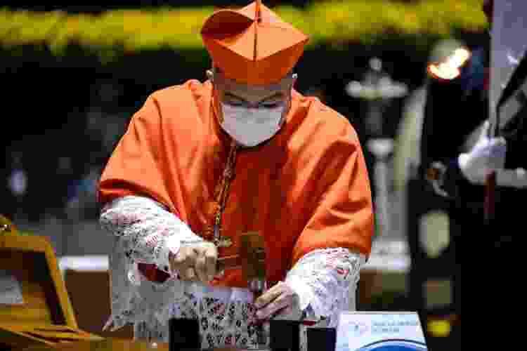 12.out.21 - O arcebispo do Rio de Janeiro, Cardeal Orani João Tempesta, durante celebração religiosa em comemoração aos 90 anos da estátua do Cristo Redentor - FLAVIO TEIXEIRA VAIRO/ESTADÃO CONTEÚDO - FLAVIO TEIXEIRA VAIRO/ESTADÃO CONTEÚDO