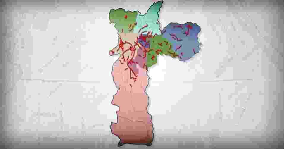 Mapa de São Paulo com os 181 trechos de ciclovias e ciclorrotas já criadas na cidade até agosto de 2015, que representam 351,9 quilômetros de vias para ciclistas. Levantamento realizado pelo UOL concluiu que 40 trechos de ciclovias não se conectam com o restante da rede, enquanto 52 possuem apenas uma conexão - Arte UOL