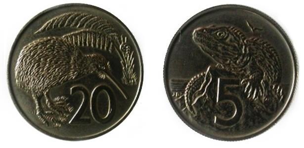 Nova Zelândia: O Banco Central brasileiro exibe em seu museu duas moedas de 1967 da Nova Zelândia que já tinham animais. A de 20 centavos de dólar neozelandês tem a imagem do kiwi e a de cinco centavos um tuatara. Encontrado apenas naquele país, esse réptil é considerado único. Seus parentes mais próximos são de um grupo de répteis extintos na época dos dinossauros. Por isso alguns cientistas o consideram um fóssil vivo.