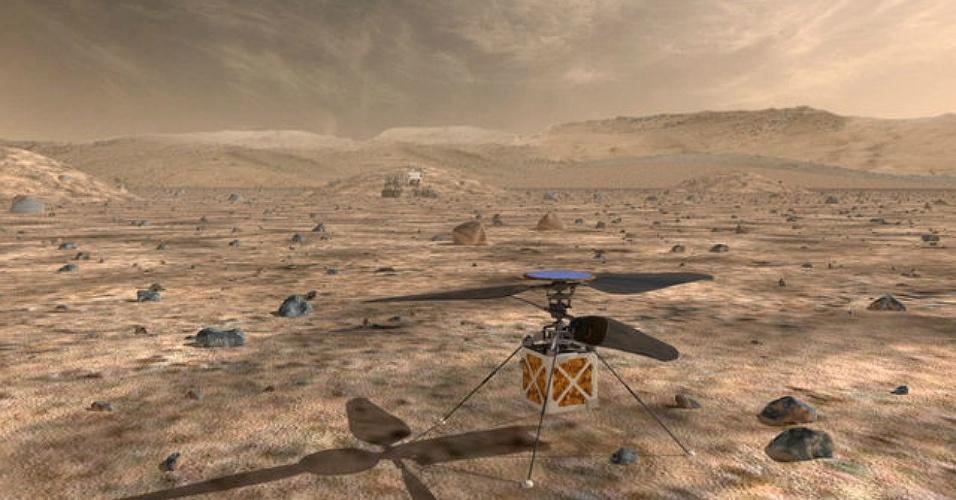 Mini-helicóptero que a Nasa pretende enviar a Marte até 2020