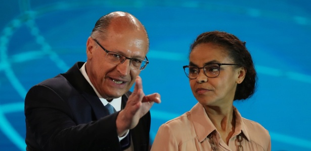 Geraldo Alckmin e Marina Silva durante debate