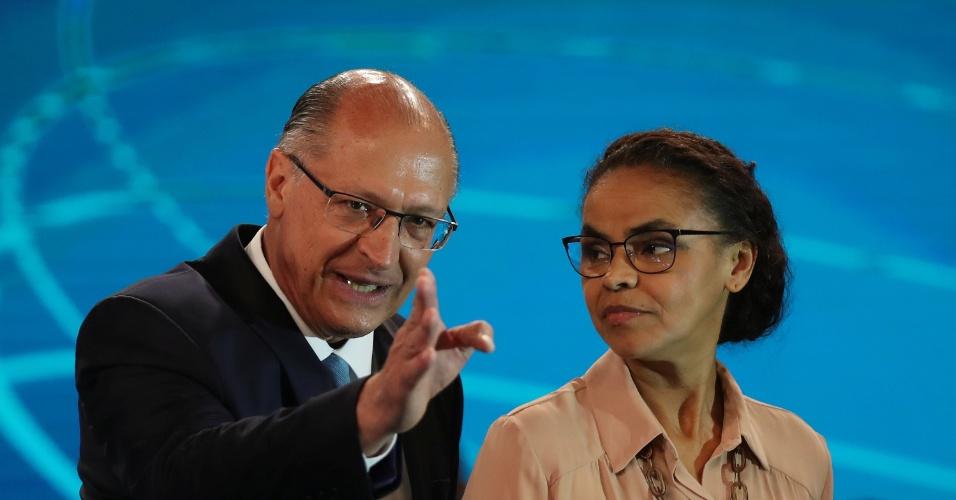 4.out.2018 - Geraldo Alckmin e Marina Silva durante debate da TV Globo