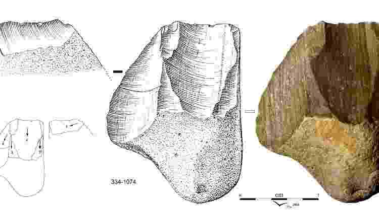 Sinais de lascamento intencional em uma das rochas analisadas, segundo os pesquisadores - Fabio Parenti