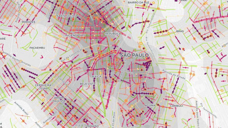 Mapa interativo da USP mostra quantos de seus vizinhos contraíram a covid-19 - Reprodução/Site/LabCidadeFAU