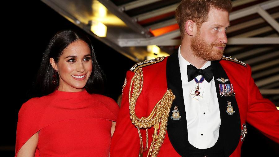 Príncipe britânico Harry e sua esposa Meghan, em Londres -