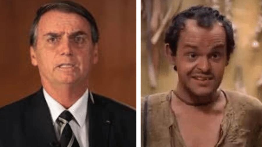 Jair Bolsonaro e o personagem João Grilo - divulgação e reprodução de vídeo