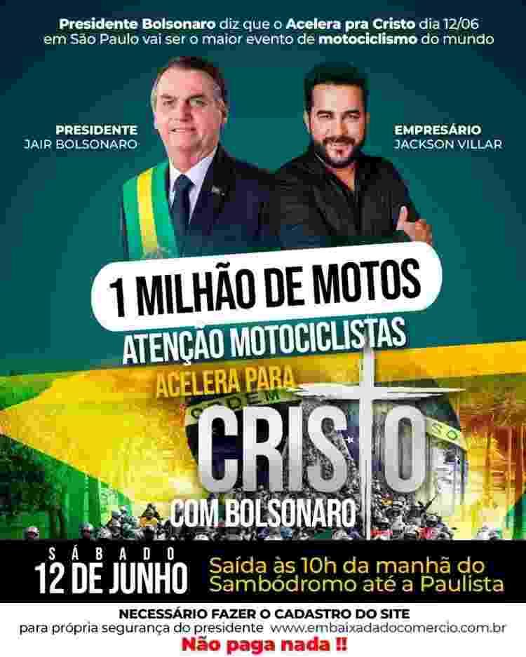 Propaganda de 'motociata' de Bolsonaro - Reprodução - Reprodução