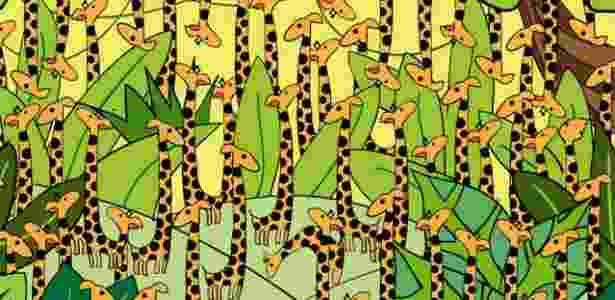 """Site """"Playbuzz"""" pergunta: onde está a cobra entre muitas girafas? - Reprodução"""