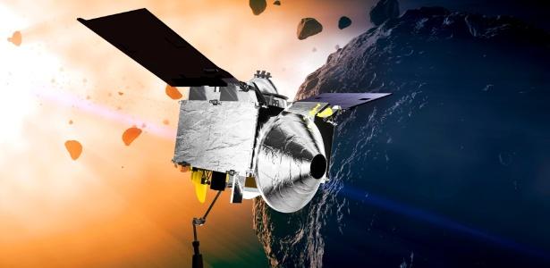 Ilustração da nave espacial OSIRIS-REX se aproximando do asteroide Bennu, que pode ter pistas sobre as origens da vida