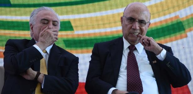 22.mai.2018 - Temer e Meirelles durante evento do MDB que lançou a pré-candidatura do ex-ministro da Fazenda