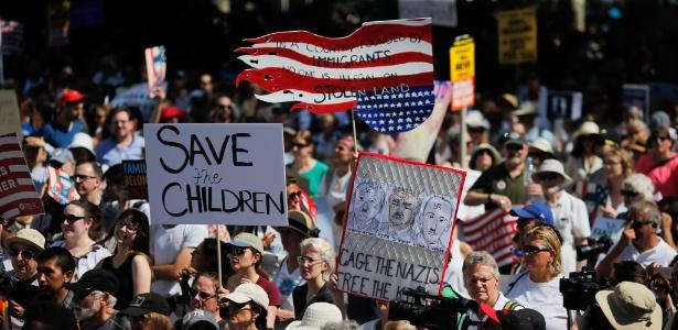 Protesto em Nova York contra a política de separação de famílias imigrantes - Eduardo Munoz Alvarez/AFP Photo