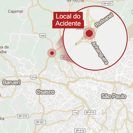 mapa acidente helicoptero - Arte/UOL - Arte/UOL