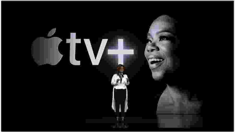 Apresentadora Oprah Winfrey fez parte do anúncio do novo serviço de assinatura de vídeos da Apple - Reprodução