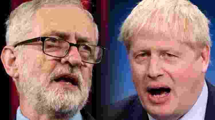 Boris Johnson (à direita) derrotou o líder do partido Trabalhista, Jeremy Corbyn (esq.), e permanecerá no cargo de primeiro ministro do Reino Unido - Getty Images - Getty Images
