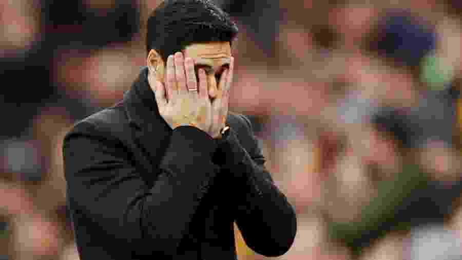 Técnico do Arsenal, Mikel Arteta, durante partida da equipe pelo Campeonato Inglês - JOHN SIBLEY