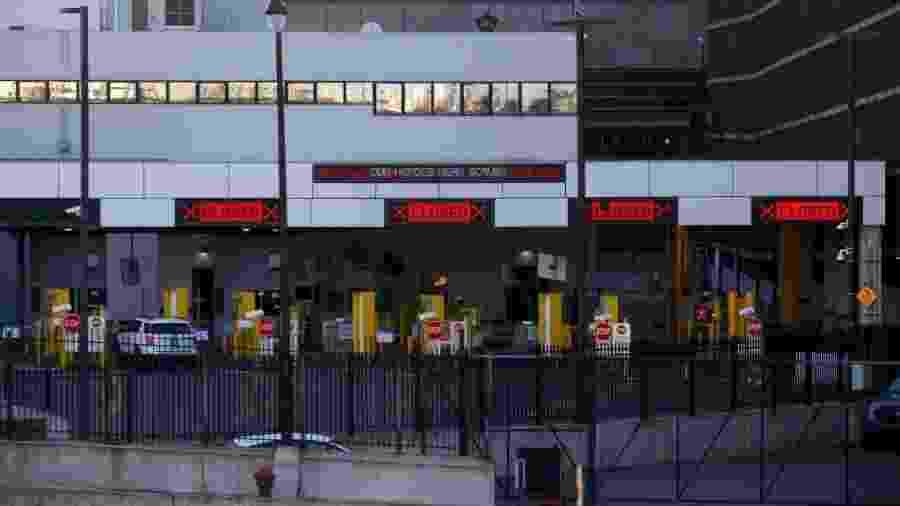 8.abr.2020 - Fronteira entre Canadá e Estados Unidos fechada durante a pandemia do novo coronavírus - Elaine Cromie / Getty Images