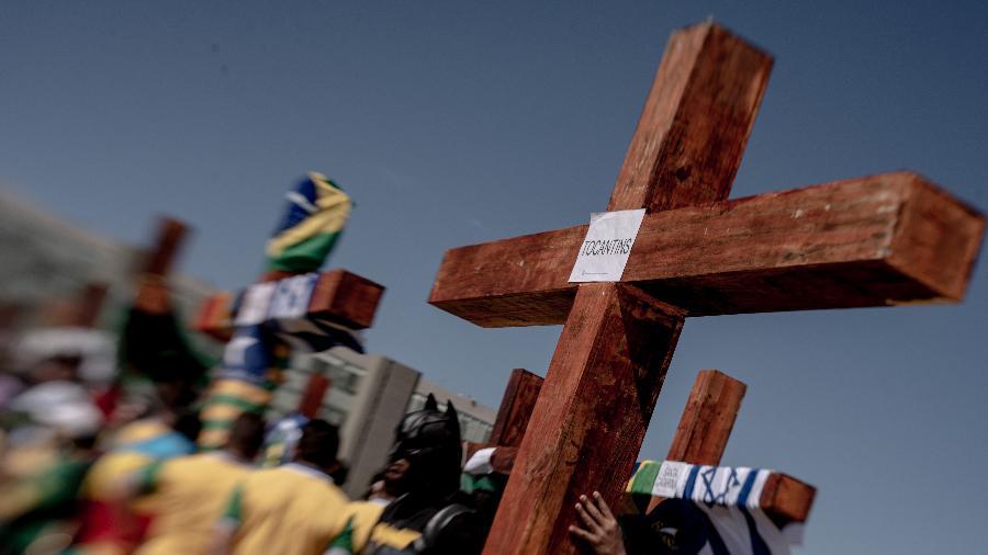 19.jul.20 - Passeata de grupos evangélicos em defesa do governo de Jair Bolsonaro em Brasília - Jacqueline Lisboa/Agif/Estadão Conteúdo