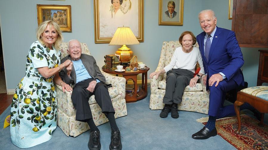 Os Bidens visitaram os Carters em sua casa na Geórgia - Divulgação/The Carter Center