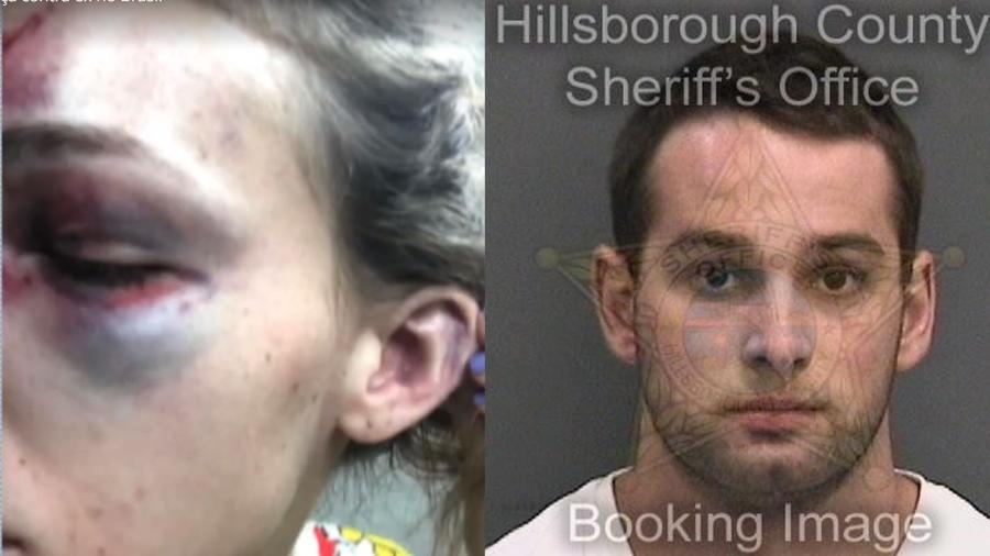 """O estudante mineiro Erick Bretz já esteve preso nos EUA por agredir a ex-namorada, Melissa Gentz - Reprodução/TV Globo/Hillsborough County Sheriff""""s Office"""