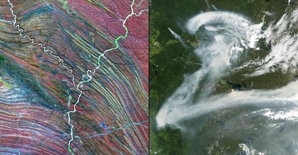 """6.jan.2015 - O rio Ugab, na Namíbia, parece formar a letra """"Y"""" e a fumaça de um incêndio pairando sobre o Canadá parece formar a letra """"Z"""""""