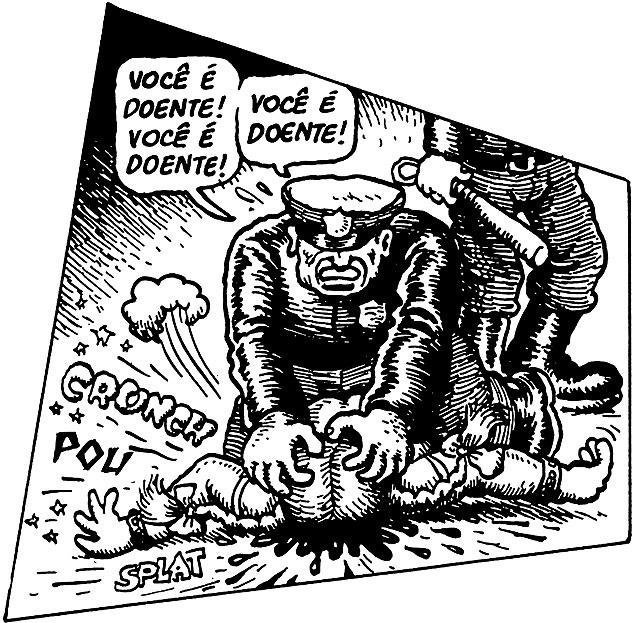 """21.jan.2016 - O cartunista americano Robert Crumb, conhecido por suas sátiras ao modo de vida americano, cedeu dois desenhos de seu livro mais recente, """"Viva a Revolução!"""" (Editora Veneta, R$ 90), para serem usados pelo MPL (Movimento Passe Livre) em cartazes e faixas nas próximas passeatas do grupo. O desenho que o MPL pediu é sobre uma manifestação com confronto policial na Califórnia em 1968, quando estudantes protestavam contra a guerra do Vietnã"""