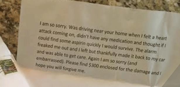 Esta é a carta que o 'aprendiz de ladrão' deixou na casa que tentou invadir