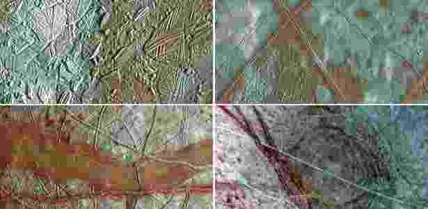 27.mar.2017 - Imagens da superfície de Europa feitas pela missão Galileu mostram, em sentido horário a partir da superior esquerda: (1) crosta de gelo quebrada na região conhecida como Conamara; (2) placas da crosta que, acredita-se, quebraram e se arranjaram em posições diferentes; (3) faixas avermelhadas; e (4) uma cratera que pode ter o tamanho do Havaí - NASA/JPL/UNIVERSITY OF ARIZONA - NASA/JPL/UNIVERSITY OF ARIZONA
