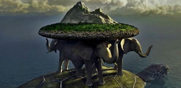 Nas mitologias chinesa, hindu e de povos indígenas americanos, o mundo era carregado por uma tartaruga - em alguns acasos por elefantes sobre o seu casco