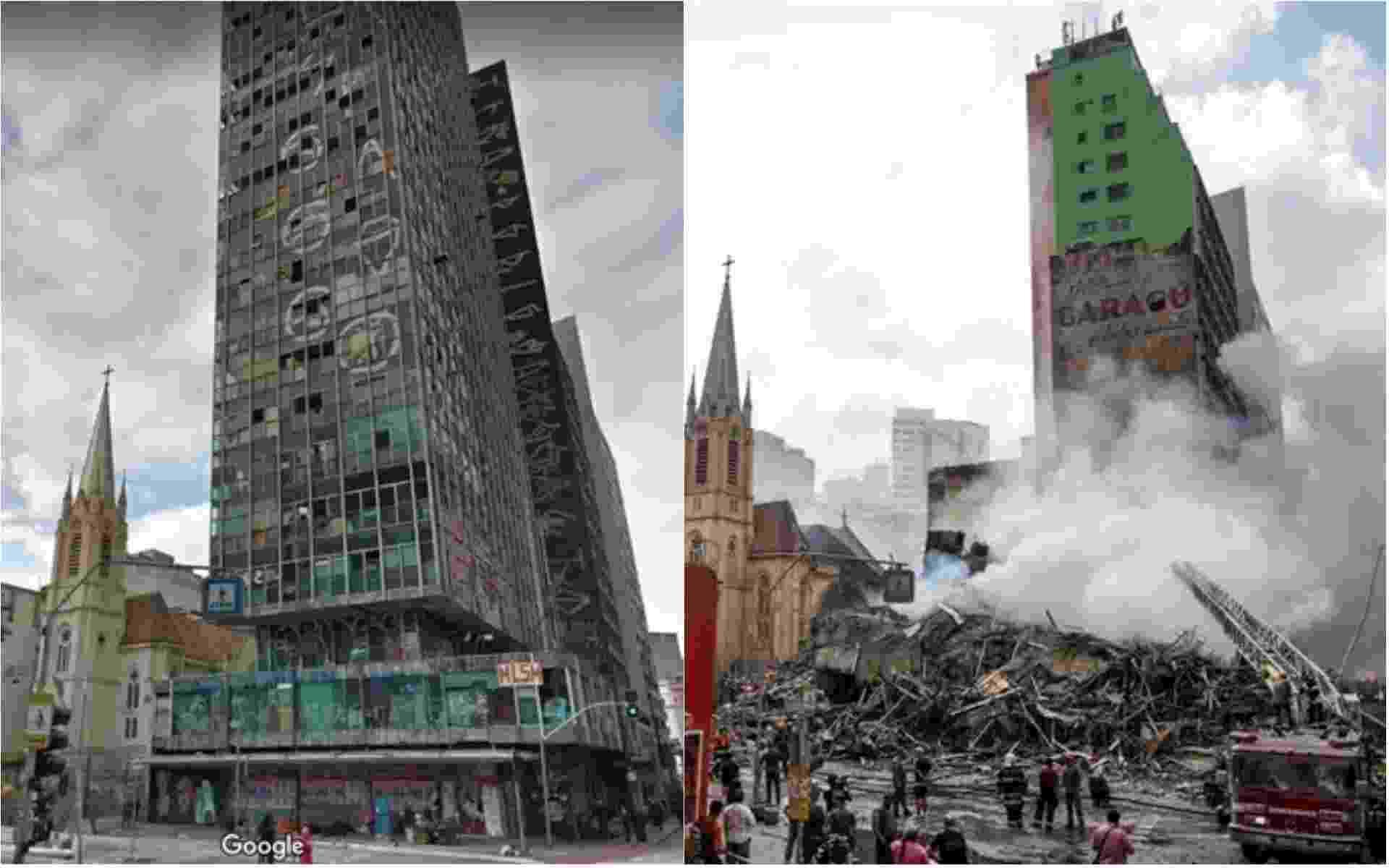 1º.mai.2018 - Imagem do Google Maps (à esq.) mostra o prédio de 24 andares situado no Largo do Paissandu, no centro de São Paulo, antes do desabamento provocado por um incêndio no imóvel. Em fotografia registrada após a tragédia (à dir.), bombeiros trabalham em busca de possíveis sobreviventes - Arte/UOL