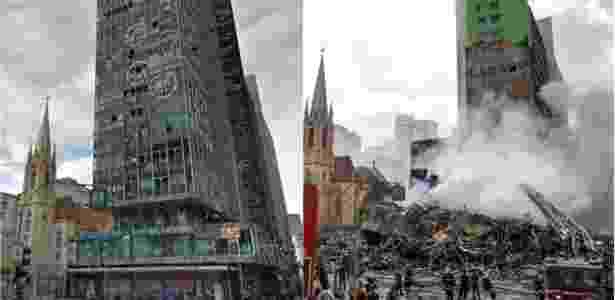 Antes e depois do prédio de 24 andares que desabou no centro de SP após pegar fogo - Arte/UOL